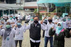 Wali Kota Bogor Bima Arya meninjau kesiapan Rumah Sakit Umum Daerah (RSUD) Kota Bogor, Jalan Semeru, Bogor Barat, Kamis, 30 April 2020. Dalam kesempatan tersebut Bima Arya juga memberikan motivasi bagi para tenaga kesehatan, termasuk pengelola rumah sakit.